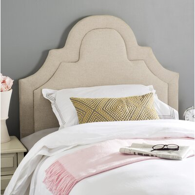 Kerstin Arched Upholstered Panel Headboard Size: Twin, Color: Hemp, Upholstery: Linen