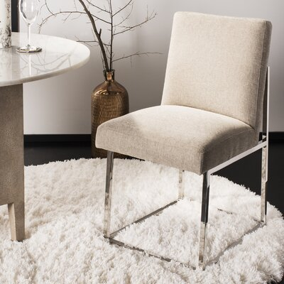 Fuentes Upholstered Dining Chair Upholstery: Silver