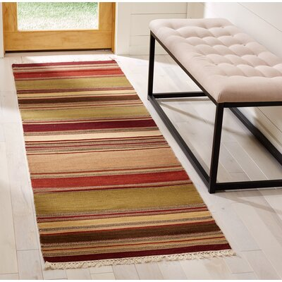 Striped Kilim Hand-Woven Wool Area Rug Rug Size: Runner 23 x 8