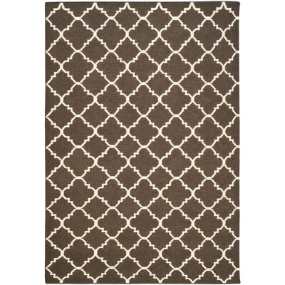 Dhurries Hand-Woven Wool Brown/Ivory Area Rug Rug Size: Rectangle 9 x 12
