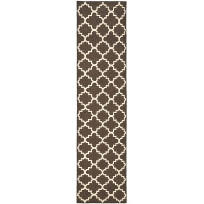 Dhurries Hand-Woven Wool Brown/Ivory Area Rug Rug Size: Runner 26 x 6