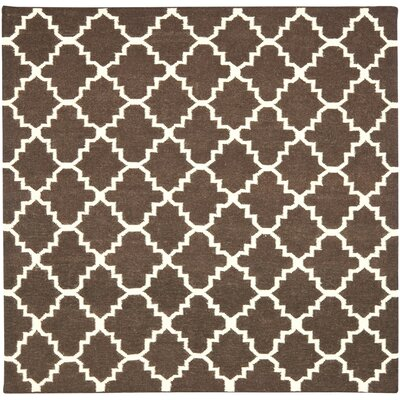 Dhurries Hand-Woven Wool Brown/Ivory Area Rug Rug Size: Square 6