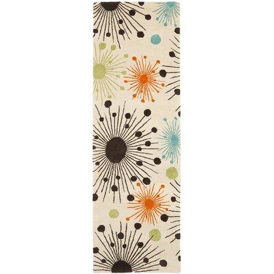 Soho Fireworks Ivory Area Rug Rug Size: Runner 26 x 8