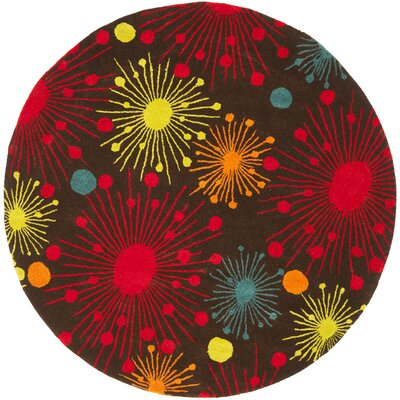 Soho Brown Fireworks Area Rug Rug Size: Round 6