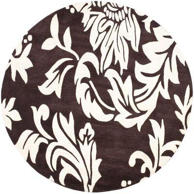 Soho Light Brown / Dark Ivory Contemporary Rug Rug Size: Round 6