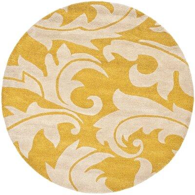 Soho Gold/Ivory Rug Rug Size: Round 8