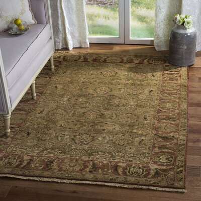 Old World Light Green/Rust Area Rug Rug Size: 4 x 6 Rectangle