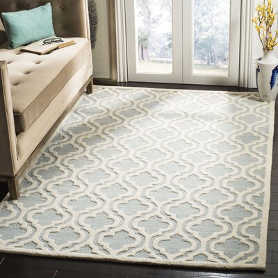 Cambridge Hand-Tufted Spa/Ivory Area Rug Rug Size: Rectangle 5 x 8