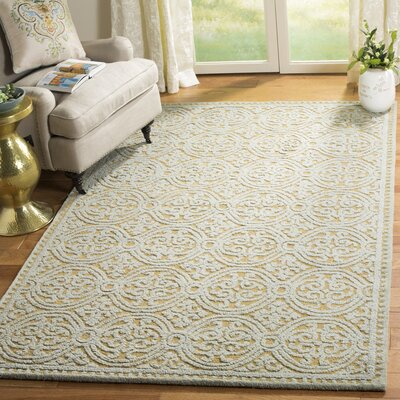 Cambridge Hand-Tufted Blue/Gold Area Rug Rug Size: Rectangle 5 x 8