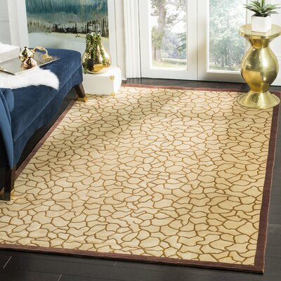 Youmans Tibetan Hand Knotted Silk/Wool Gold Area Rug Rug Size: Rectangle 5 x 76