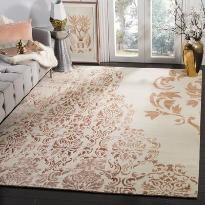 Leet Tibetan Hand Knotted Ivory/Tangerine Area Rug Rug Size: Rectangle 6 x 9