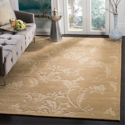 Claussen Tibetan Hand Knotted Wool Creme Area Rug Rug Size: Rectangle 10 x 14