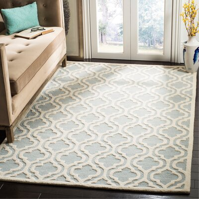 Mahoney Hand-Tufted Spa/Ivory Area Rug Rug Size: Rectangle 5 x 8