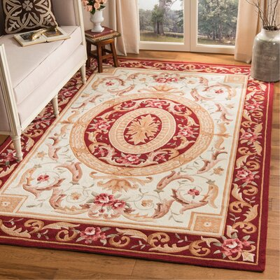 DuraArea Rug Ivory/Burgundy Area Rug Rug Size: Rectangle 6 x 9