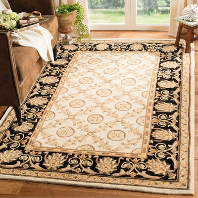 Naples Hand-Tufted Wool Ivory/Black Area Rug Rug Size: Rectangle 5 x 8