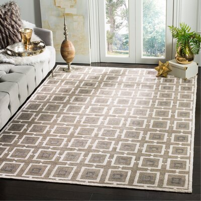 Paramkusham Tibetan Hand Knotted Gray/Beige Area Rug Rug Size: Rectangle 9 x 12
