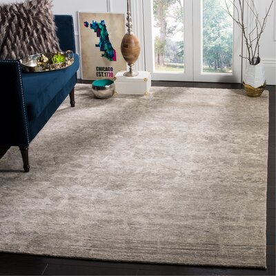 Wildhollow Tibetan Hand Knotted Cream/Stone Area Rug Rug Size: Rectangle 8 x 10