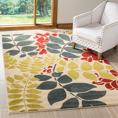 Newport Ivory/Blue Area Rug Rug Size: Rectangle 51 x 76