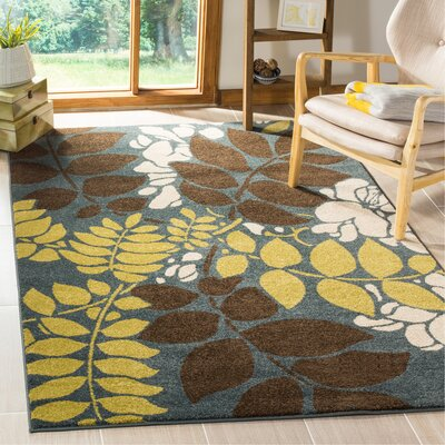 Newport Blue/Brown Area Rug Rug Size: Rectangle 51 x 76