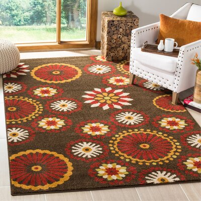 Newport Brown/Red Area Rug Rug Size: Rectangle 51 x 76