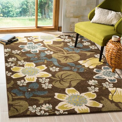 Newport Brown/Mustard Area Rug Rug Size: Rectangle 51 x 76