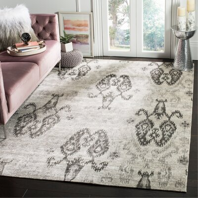 Wildhollow Tibetan Hand Knotted Silver/Gray Area Rug Rug Size: Rectangle 6 x 9