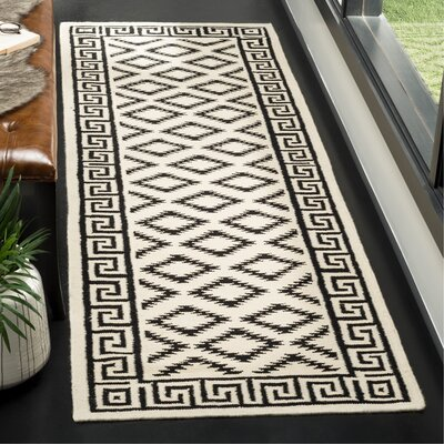 Dhurries Hand-Tufted Wool Brown/Ivory Area Rug Rug Size: Runner 26 x 8
