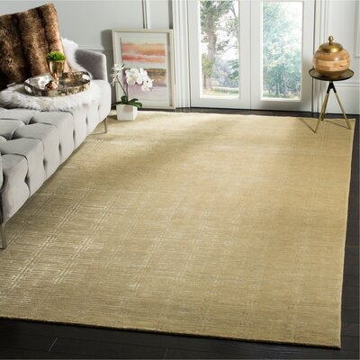 Paramkusham Tibetan Hand Knotted Beige Area Rug Rug Size: Rectangle 6 x 9