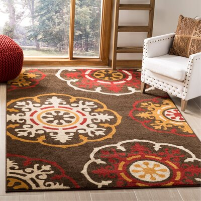 Newport Brown/Red Area Rug Rug Size: Rectangle 3 x 5