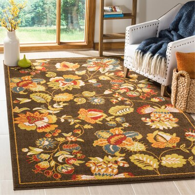 Newport Brown/Green Floral Area Rug Rug Size: Rectangle 51 x 76