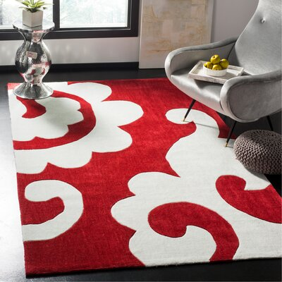 Modern Art Red / Ivory Original Rug Rug Size: Rectangle 5 x 8