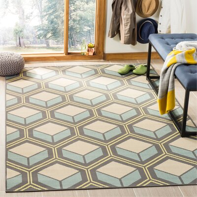 Hampton Dark Ivory Geometric Outdoor Area Rug Rug Size: Rectangle 51 x 77