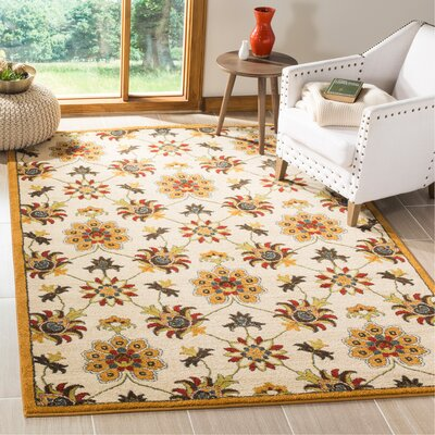 Newport Ivory/Gold Floral Area Rug Rug Size: Rectangle 51 x 76