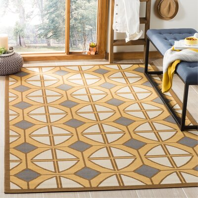 Hampton Ivory Geometric Outdoor Area Rug Rug Size: Rectangle 27 x 5