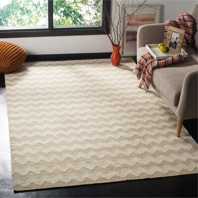 Dhurries Wool Beige/Ivory Area Rug Rug Size: Rectangle 5 x 8