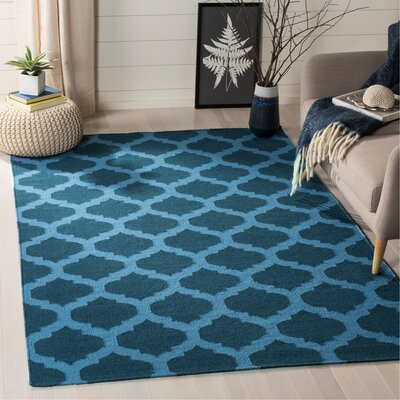 Dhurries Hand-Woven Wool Blue Area Rug Rug Size: Rectangle 5 x 8