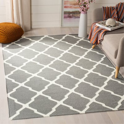 Dhurries Wool Gray/Ivory Area Rug Rug Size: Rectangle 5 x 8