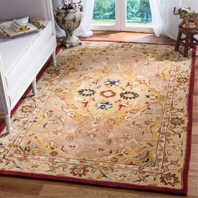 Anatolia Gold/Ivory Area Rug Rug Size: Rectangle 5 x 8