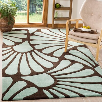 Modern Art Brown/Blue Rug Rug Size: Rectangle 5 x 8