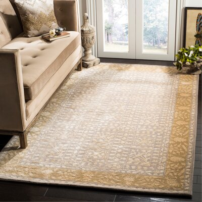 Silk Road Beige/Light Gold Area Rug Rug Size: Rectangle 5 x 8