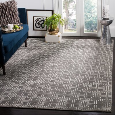 Solorio Hand-Knotted Gray/Ivory Area Rug Rug Size: Rectangle 6 x 9