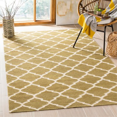 Dhurries Green / Ivory Area Rug Rug Size: Rectangle 5 x 8