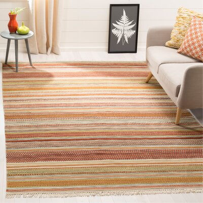 Striped Kilim Hand Woven Wool Brown/Beige Area Rug Rug Size: Rectangle 6 x 9