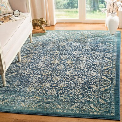 Mandy Cream/Navy Area Rug Rug Size: Rectangle 51 x 76