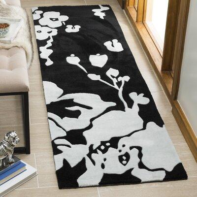 Modern Art Black/Ivory Rug Rug Size: Runner 26 x 10