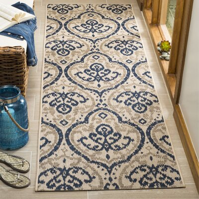 Martha Stewart Fairview Beige/Navy Area Rug Rug Size: Runner 27 x 82