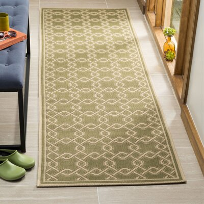 Green/Cream Area Rug Rug Size: Runner 27 x 82