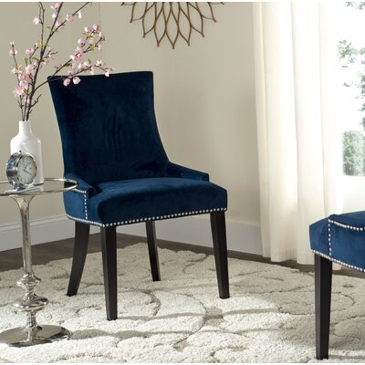 Carraway Upholstered Dining Chair Upholstery Color: Velvet Navy