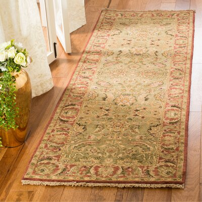 Old World Light Green/Rust Area Rug Rug Size: Runner 26 x 12