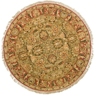 Old World Light Green/Rust Area Rug Rug Size: 6 Round